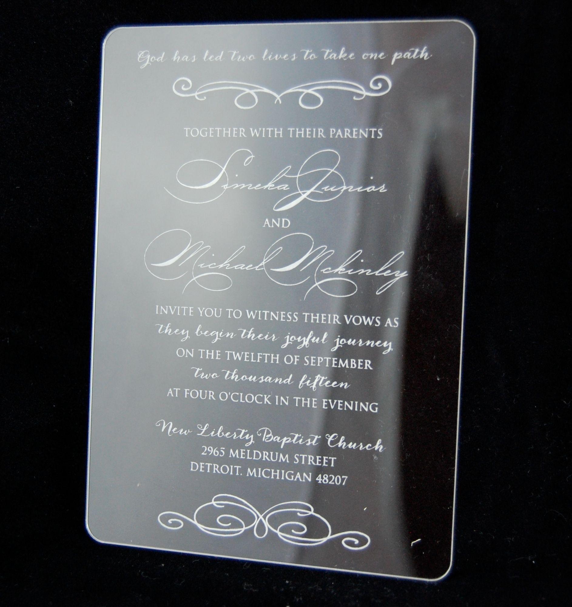 An Elegant Acrylic Invitation Plastic Clear Wedding Invite