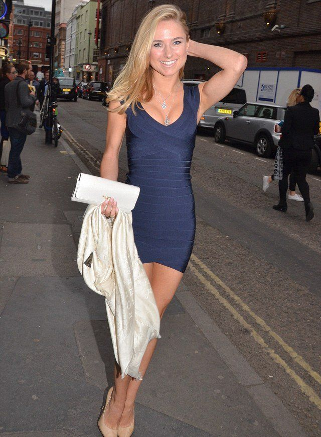 d4032bc25244 All wrapped up  navy bandage dress to LCM presentation. Celebrity wearing  Herve Leger bandage bodycon sexy dresses