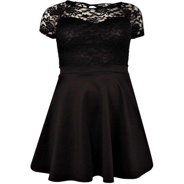 eaf3b2b7c6c7 Boohoo Plus Eliza Lace Panel Skater Dress