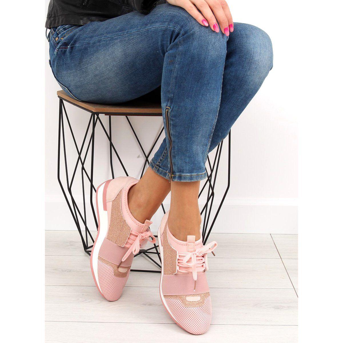 Buty Sportowe Rozowe K1x063 Pink Zolte Shoes Heels Fashion