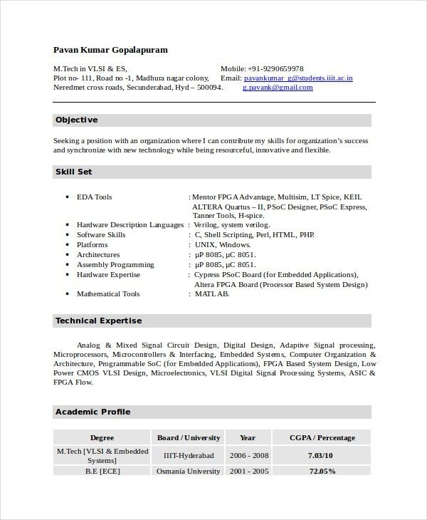 iti resume format Electronics Resume Template - 8+ Free Word, PDF - free word document resume templates