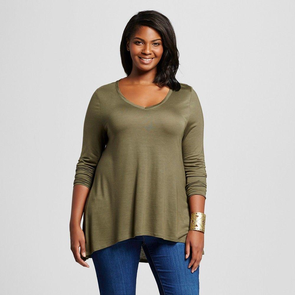 Womenus plus size drapey long sleeve tee olive green x ava