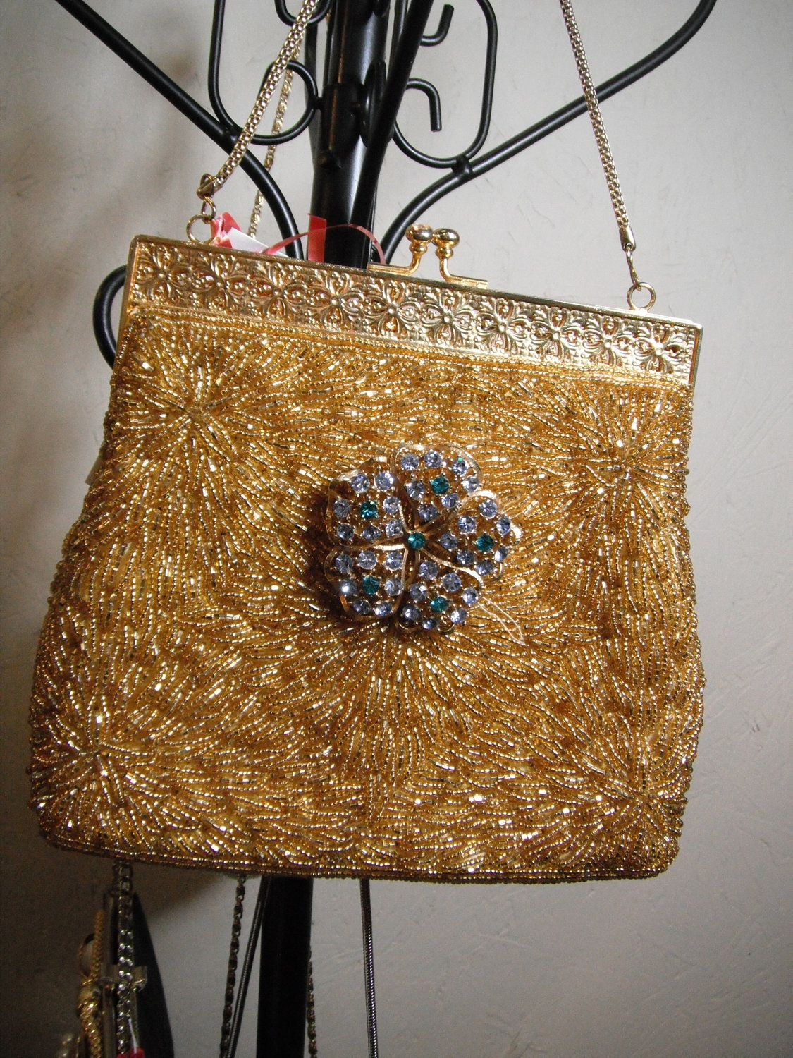 Up Cycled Purse marigold with Vintage by WhimsicalAddictions