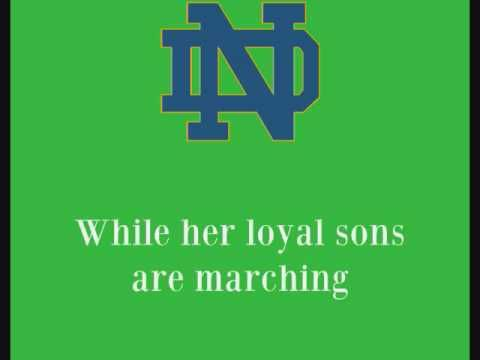 1e10da9ced5 University of Notre Dame Fighting Irish - fight song with words - The Notre  Dame Victory March