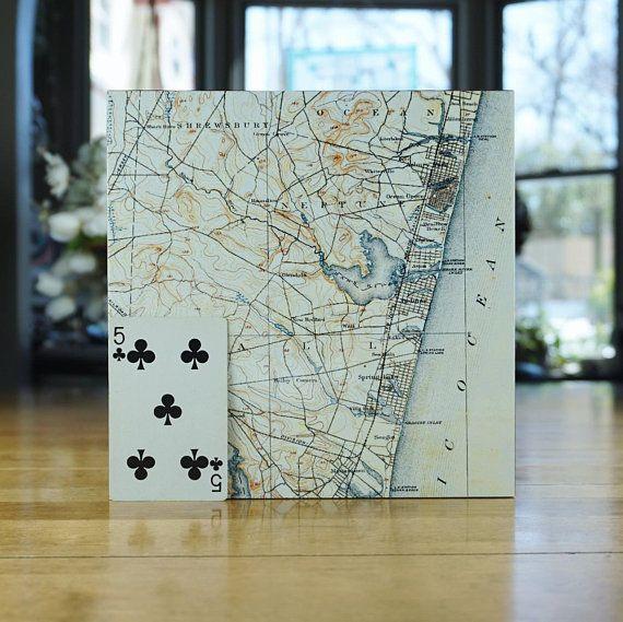 New Jersey Shore Map Block Asbury Park Ocean Grove Shark River
