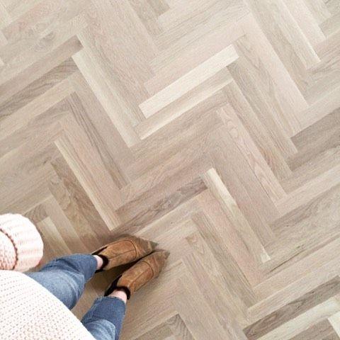 White Oak Herringbone Wood Floor Treated With Woca Wood Lye White