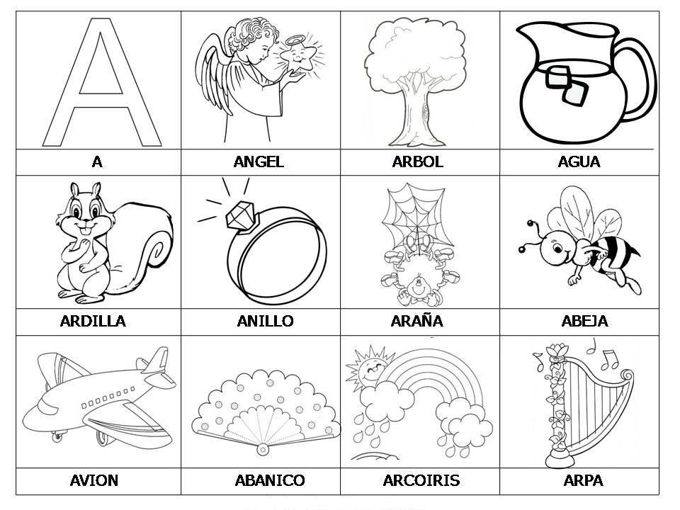 Dibujos Para Colorear Que Empiecen Con La Letra A: Objetos Que Empiecen Con La Letra A Para Recortar