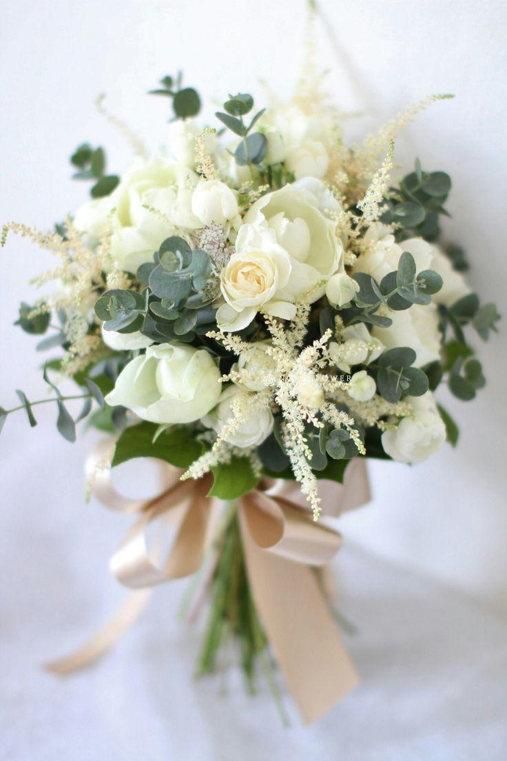 Astilbe# bridal bouquet# eucalyptus# roses# cream# blush