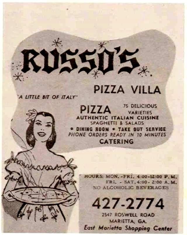 Russo's Pizza Villa                                      2547 Roswell Rd Marietta, Ga.