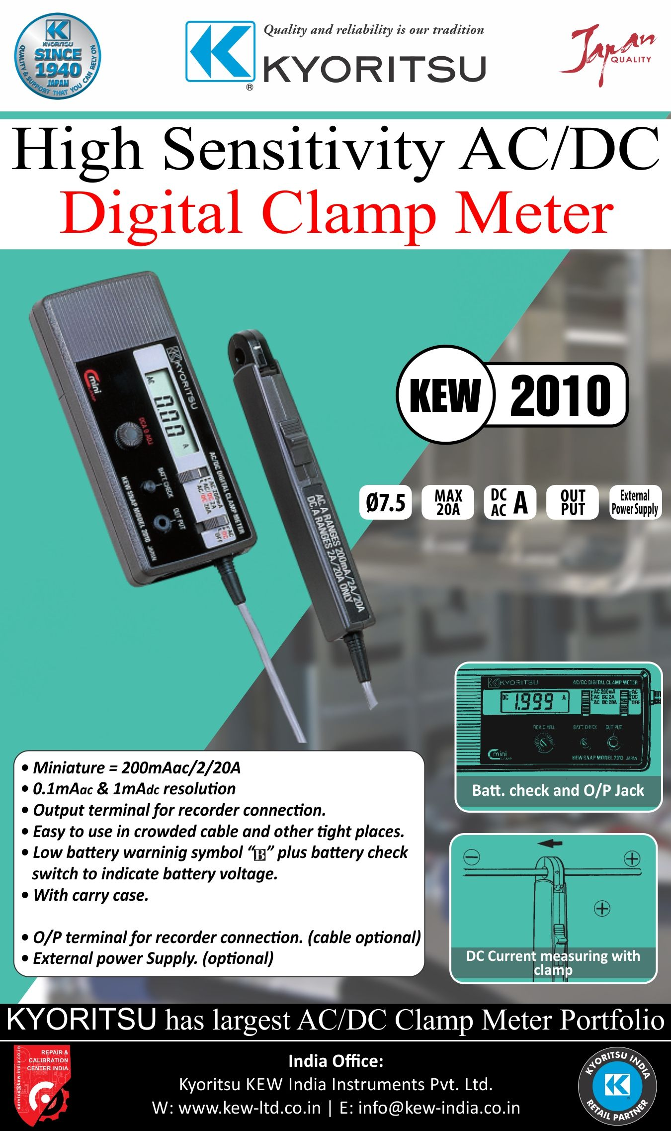 Measures DC420mA signals without breaking the loop Kew