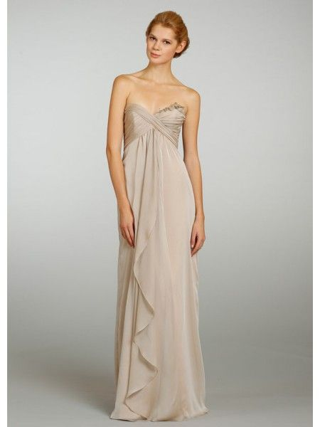 f2aa5a51f5e7 Chiffon A-line Sweetheart Sleeveless Cascade Detail Floor Length Champagne Bridesmaid  Dresses LBS1065 Long Bridesmaid