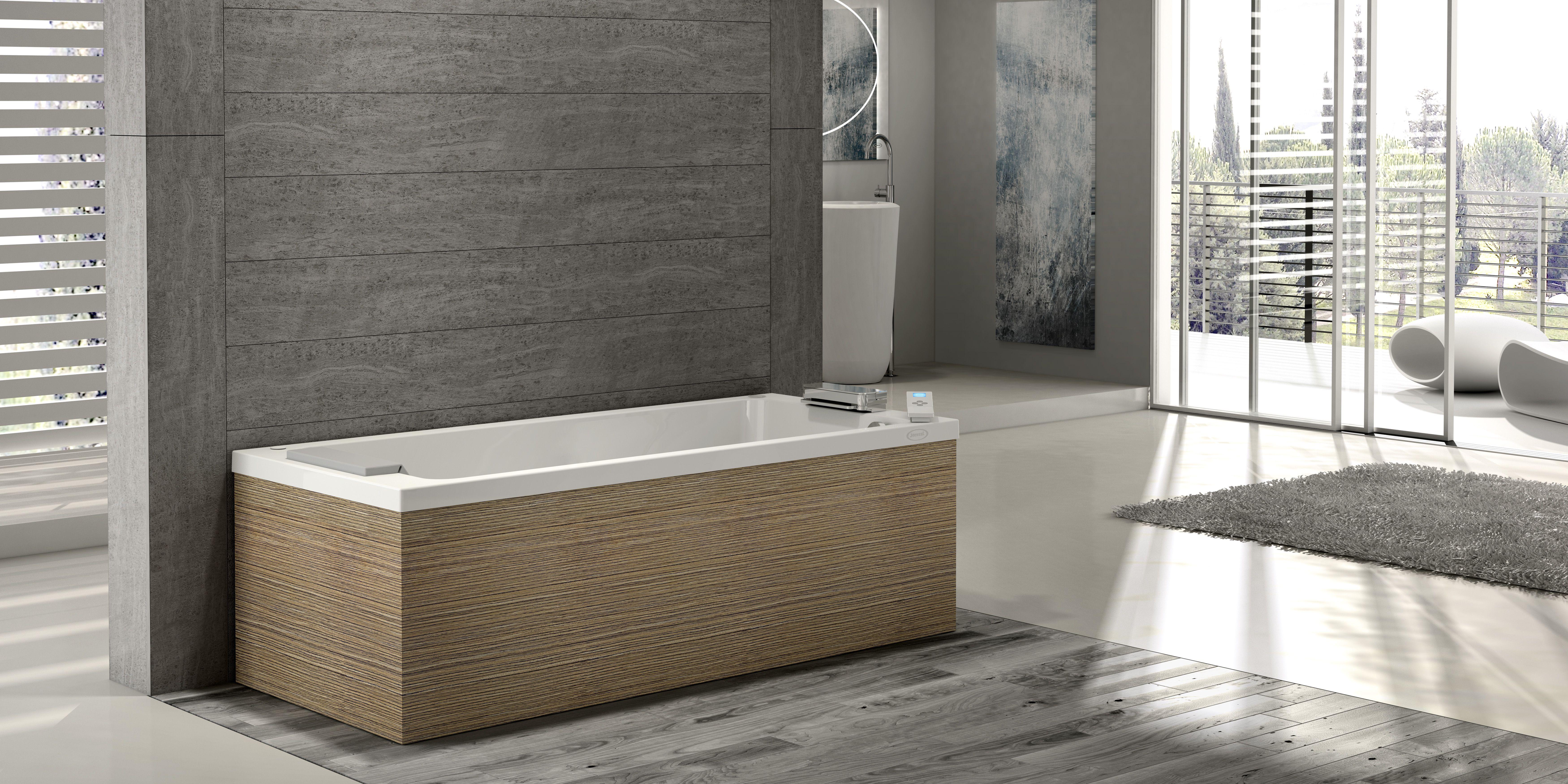 baignoire baln o contre un mur le mod le sharp de jacuzzi avec panneaux bois vein balneo. Black Bedroom Furniture Sets. Home Design Ideas