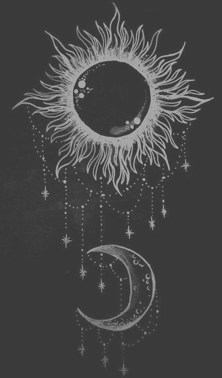 Drawing art black and white white hipster vintage indie bw moon black grunge night draw black white dark day sun retro pale sun and moon