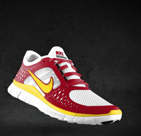 Nike Freeruns in cardinal and gold are just the shoes to run Rival Game  Relay to