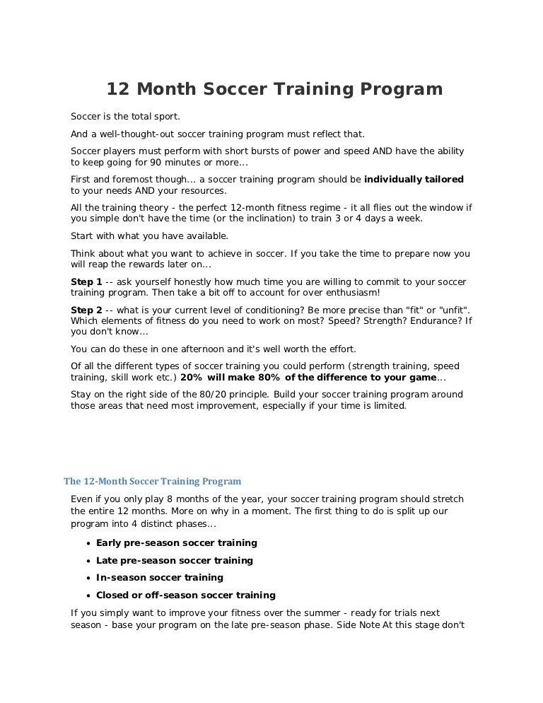 12 month training soccer Strength and conditioning Pinterest - soccer player resume