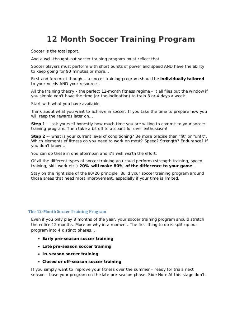 12 Month Training Soccer Training Program Soccer Training 12 Months