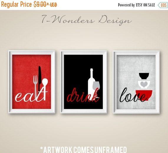 Kitchen wall art print set   eat drink love   red, grey, black ...