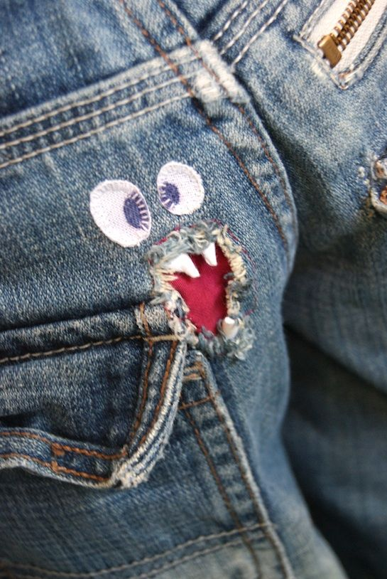 Monstruos Monsters Artesanias De Mezclilla Coser Pantalones De Mezclilla Cosas De Manualidades