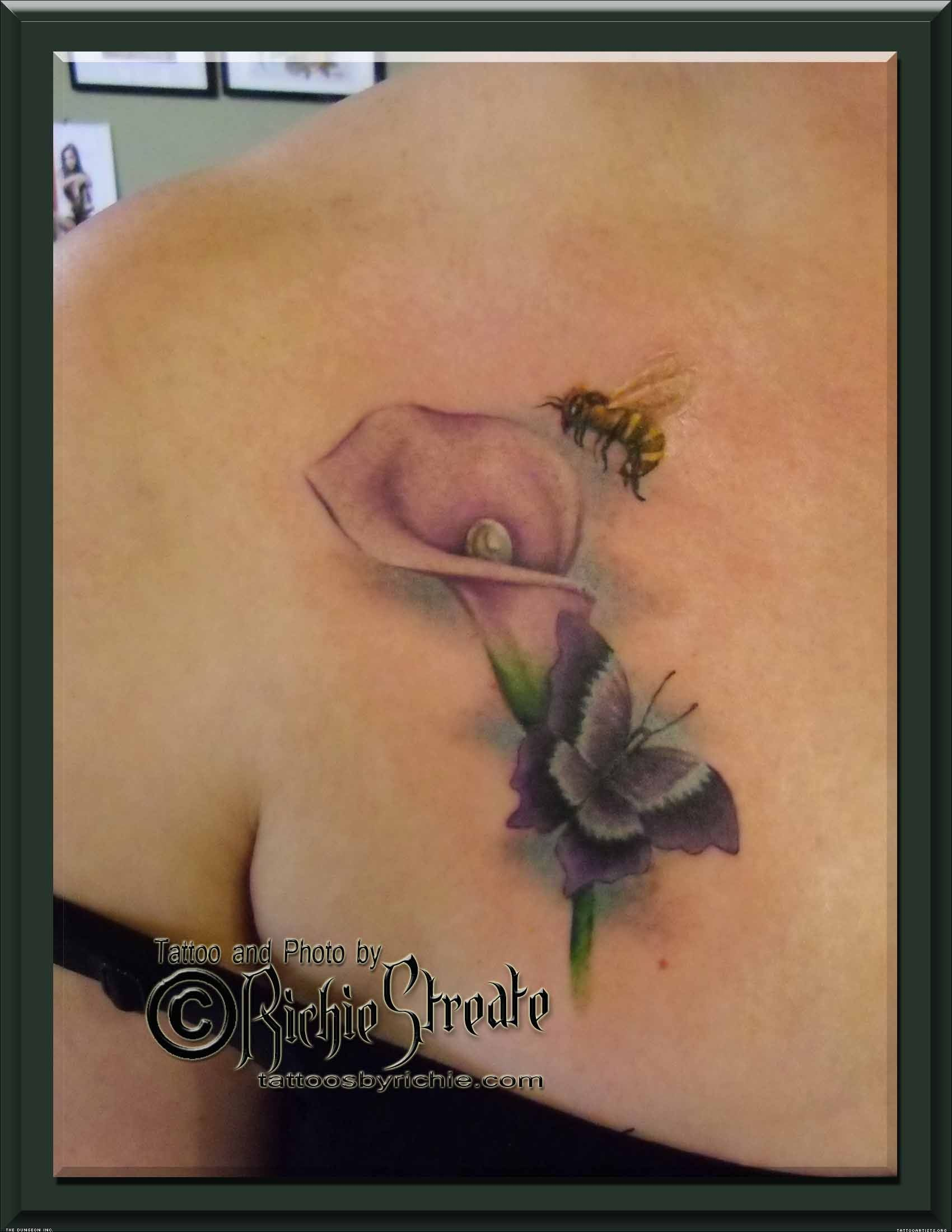 Butterfly Bee On Flowers Tattoo Design Real Photo Pictures