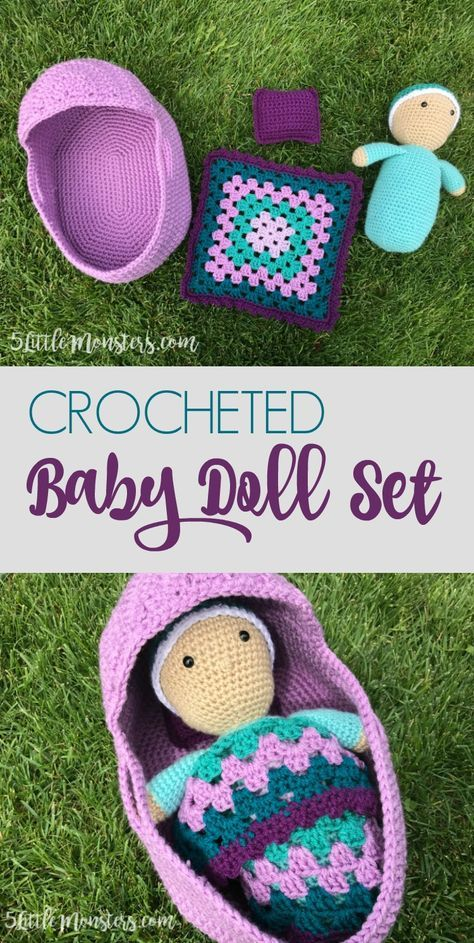 Free Crochet Pattern For A Crocheted Baby Doll Set That Includes A