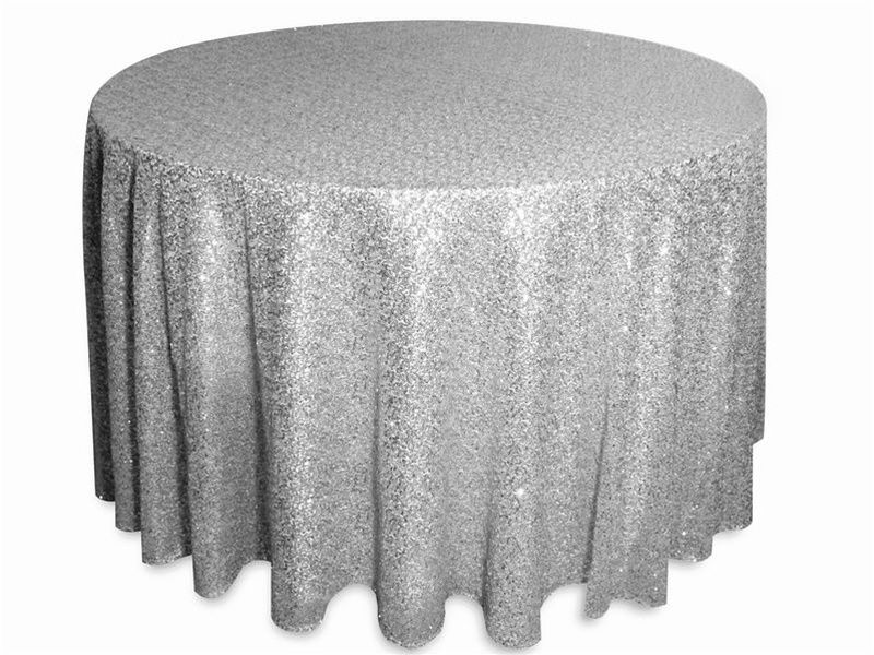 120 Silver Premium Sequin Round Tablecloth Champagne Sequin