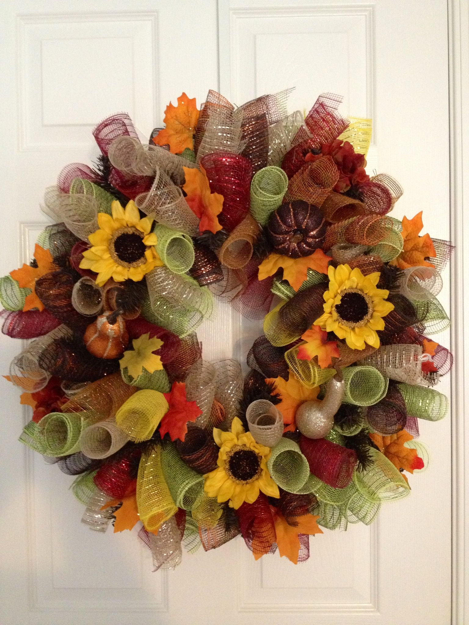 Autumn Curly Deco Mesh Wreath Gina S Creations