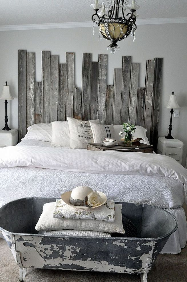 reclaimed wooden headboard