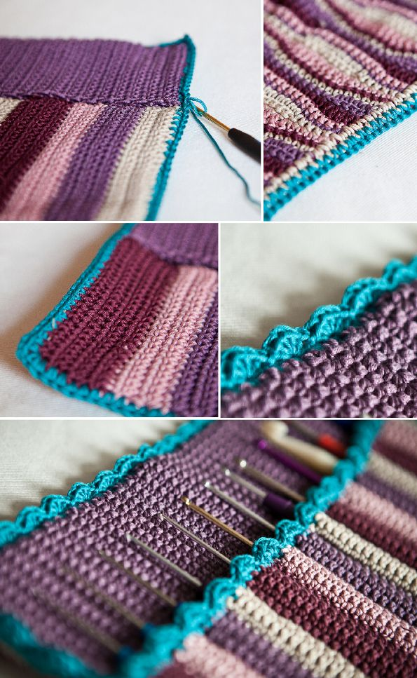 Beautiful crochet hook case made with cotton.  Some of pattern is in English, and there is a chart and great pictures for step-by-step instructions. #crochethooks