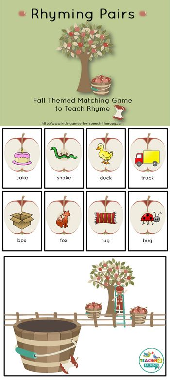 Fall Rhyming Activity - Matching Game Freebie | Centers