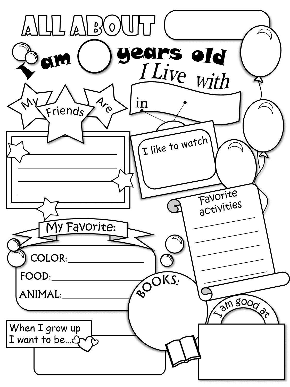 All About Me Worksheet   All about me worksheet [ 1500 x 1125 Pixel ]