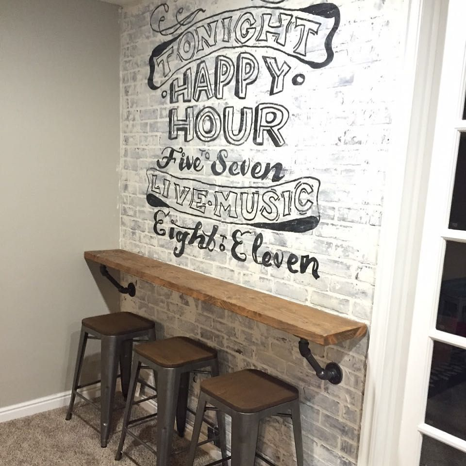 Kirsie Oohlahlahdesigns On Instagram Faux Brick Wall Tutorial Ghost Wall Art Diy Accent Wall Accent Wall Id Game Room Basement Game Room Bar Diy Home Bar
