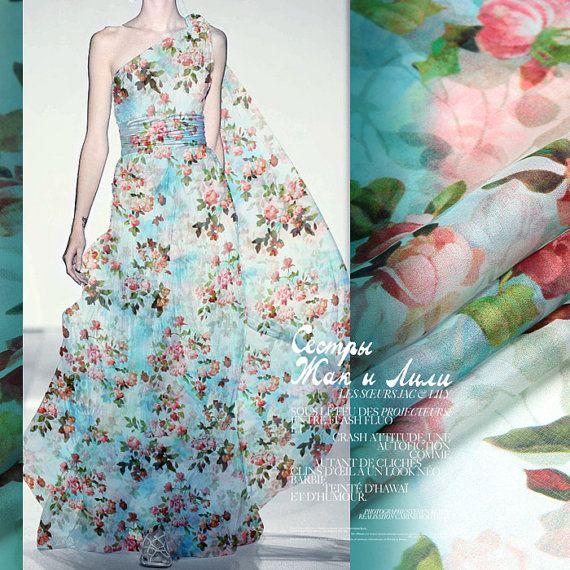 b43bca22d02df Silk Chiffon Fabric By The Yard Flower Fabric Floral Print   Sewing ...