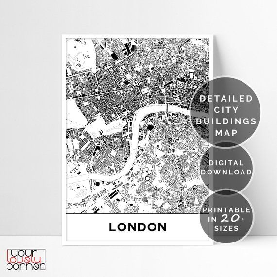 Printable London Street Map.London Map Printable Wall Art Buildings Of London Map Wall Art