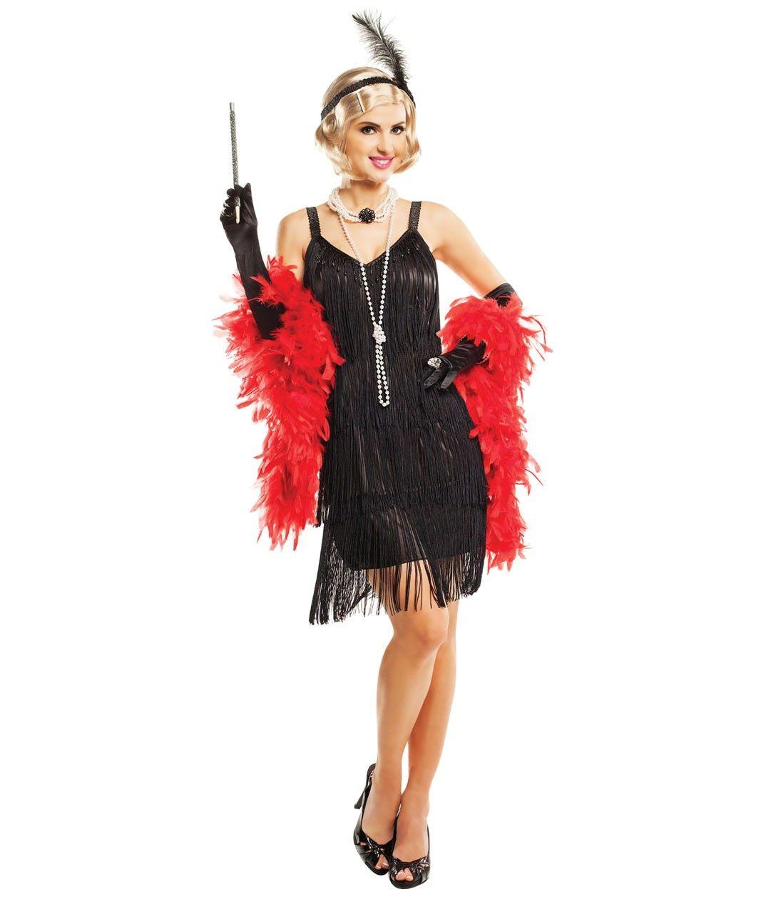 Black hollywood tiered fringe flapper costume s flapper