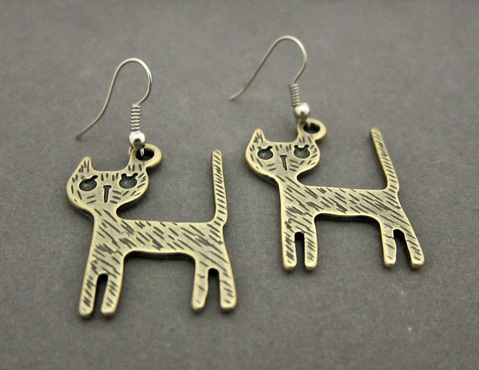 Exotic fashion jewelry - Cat Kitten Kitty Exotic Fashion Drop Dangle Brass Earrings Be067 Ebay