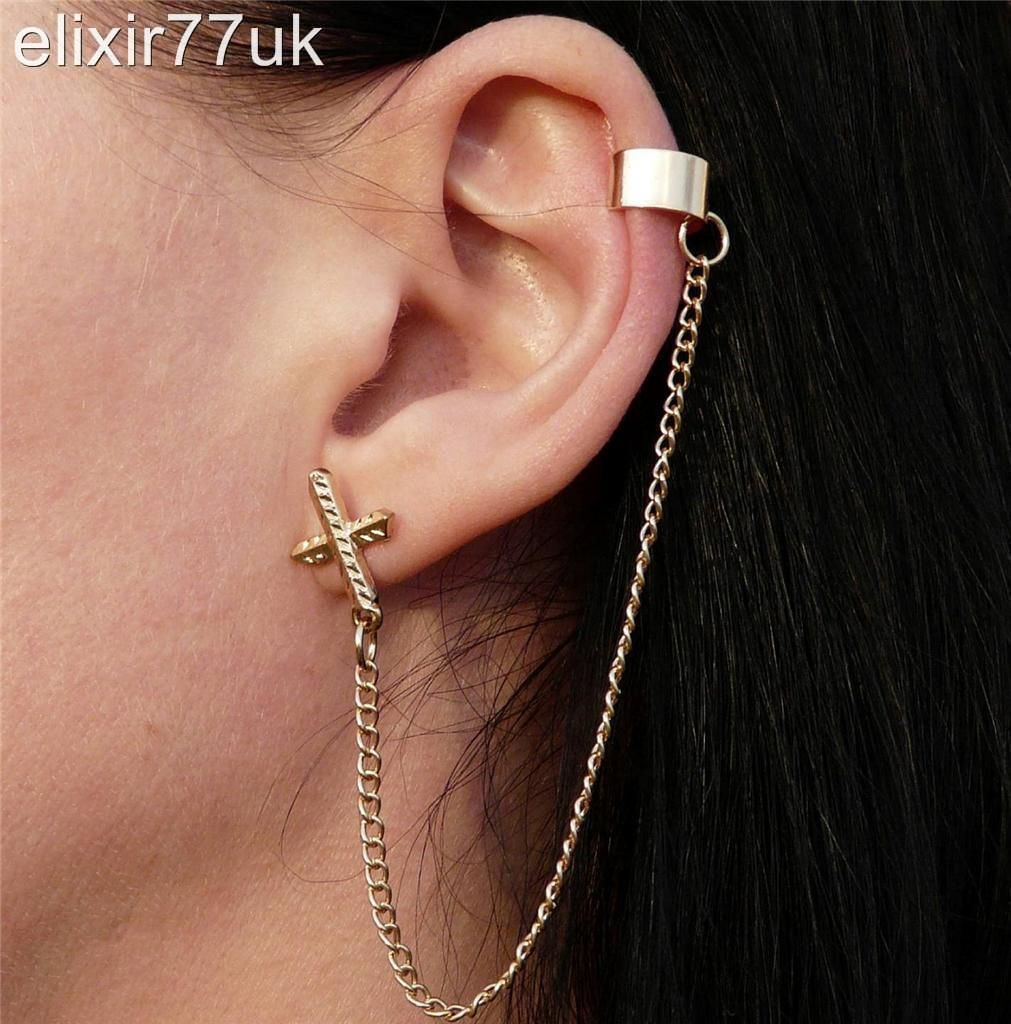 Gold Plated Punk Ear Cuff Chain Link Stud Cross Earring Gothic Rock Gift Uk Ebay