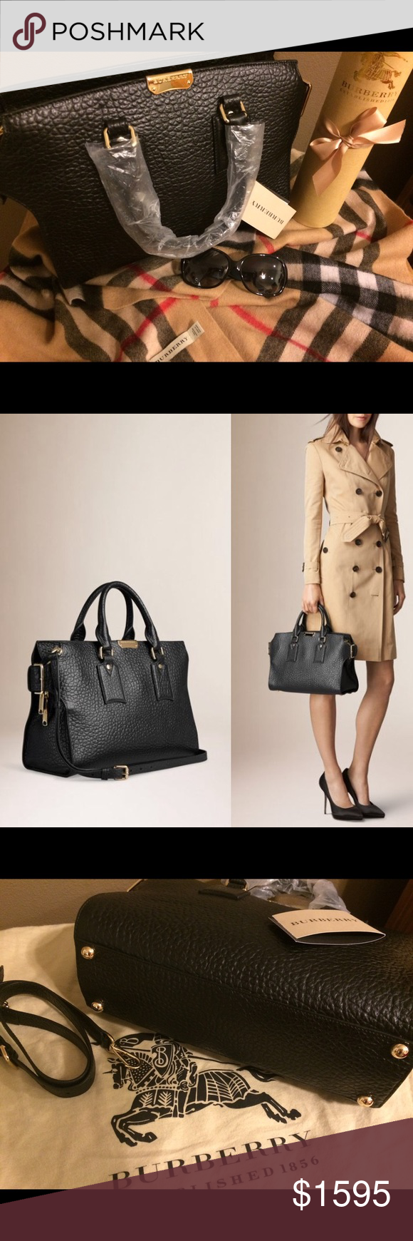 Authentic Burberry Clifton Signature Grain 👜 This brand new, with tags Clifton is a terrific piece to any collection!  The signature grain leather with gold hardware is beautiful and Burberry doesn't miss a step in calling it out all throughout this bag.  Comes with strap and dust cover.  Feel free to look this up on Burberry. Style #39712361.  This was purchased/ picked up from Nordstrom today 🤗. Would consider trade for Chloe Marcie or Celine 👜👜 Burberry Bags Satchels