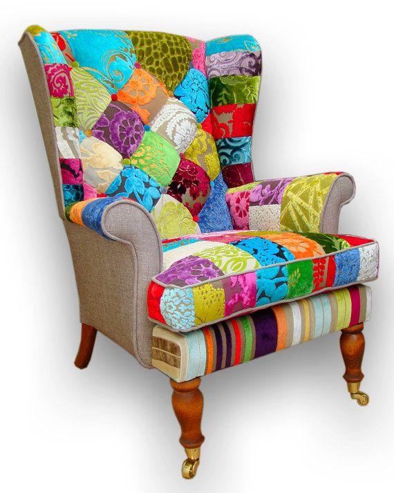Amazing Patchwork Wing Back Armchair In Designers Guild Door JustinaDesign, £595.00