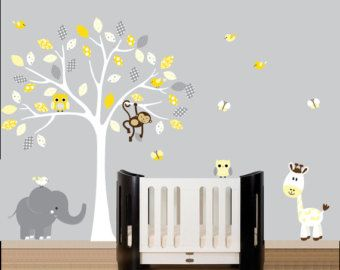 White Tree Vinyl Wall Decal Yellow And Grey Owl Decal Pattern - Yellow wall decals