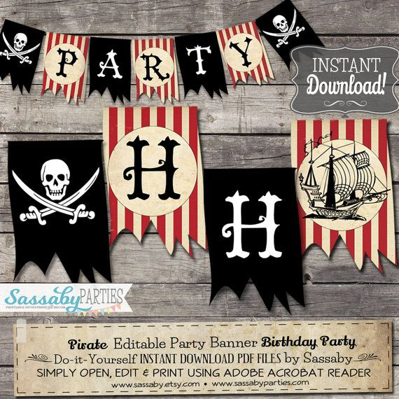 Pirate Party Banner Boys Birthday / INSTANT DOWNLOAD / Editable ...