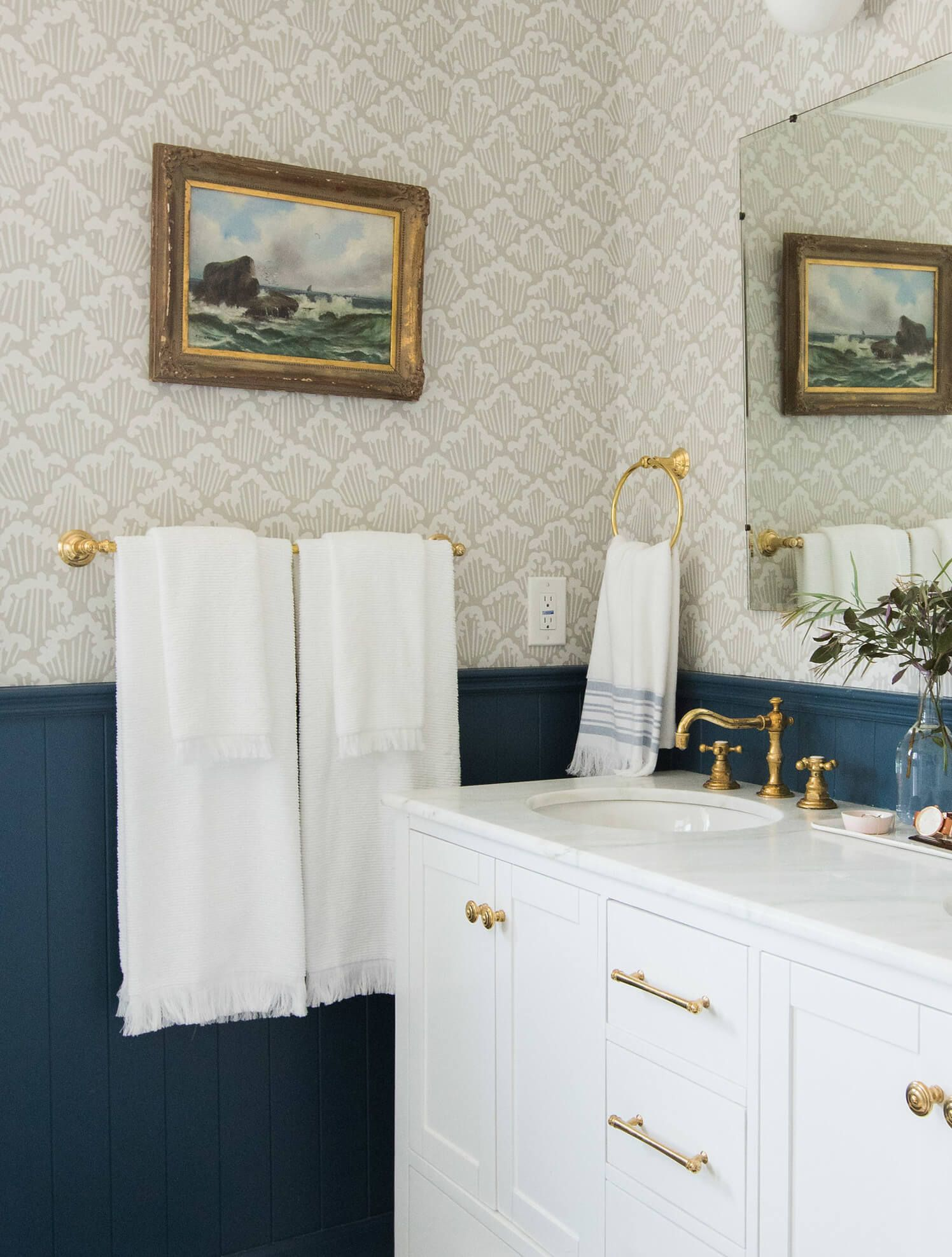 Bathroom design. Navy panelling, wallpaper, brass accents, white ...
