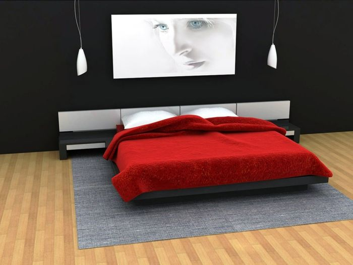 Wandfarben Fur Schlafzimmer Schwarz Weisse Streichideen Wande Bett In