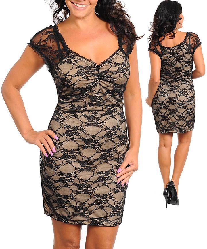 Plus Size Lace Cocktail Dress | Ladies Women Plus Size Cocktail ...