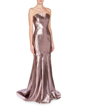 Strapless+Metallic+Mermaid+Gown,+Light+Rose+by+Roland+Mouret+at+Neiman+Marcus.