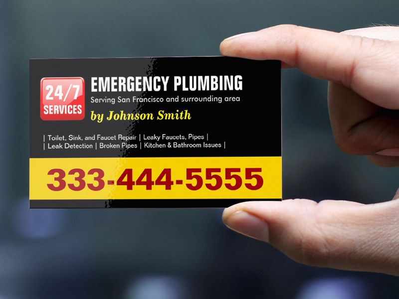 Plumber - 24 HOUR EMERGENCY PLUMBING SERVICES Business Card ...