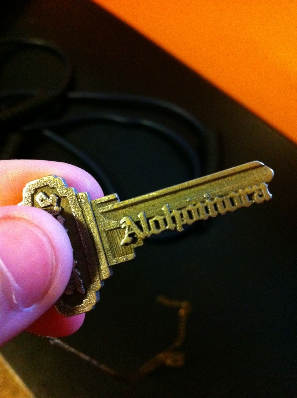 Fearful_Symmetry requested this customized Alohomora 3D printed key (by Shapeways).  http://sv.reddit.com/r/harrypotter/comments/1g3ob9/my_sisters_birthday_present_for_those_troublesome/