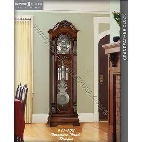 Brushed Nickel Pendulum Distressed Cherry Grandfather Clock