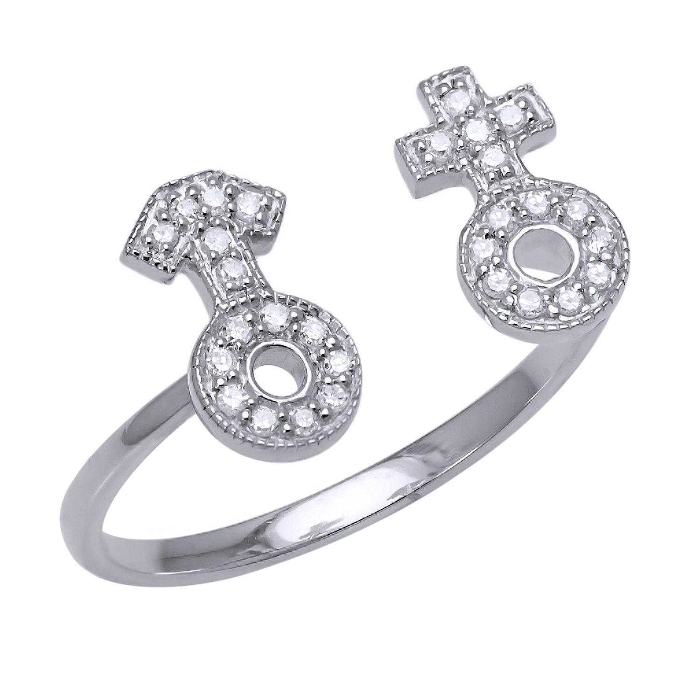 Beverly Hills Charm 10k Gold 1/10ct TDW Gender Symbol Flexible Stretch Diamond Ring