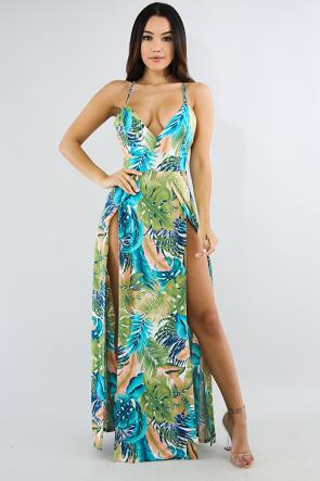 d80d43763faa Tropical High Slit Maxi Dress | dresses in 2019 | Dresses, Maxi ...