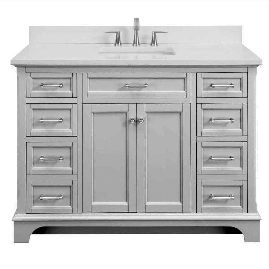 Scott Living Roveland Light Gray Single Sink Vanity With White